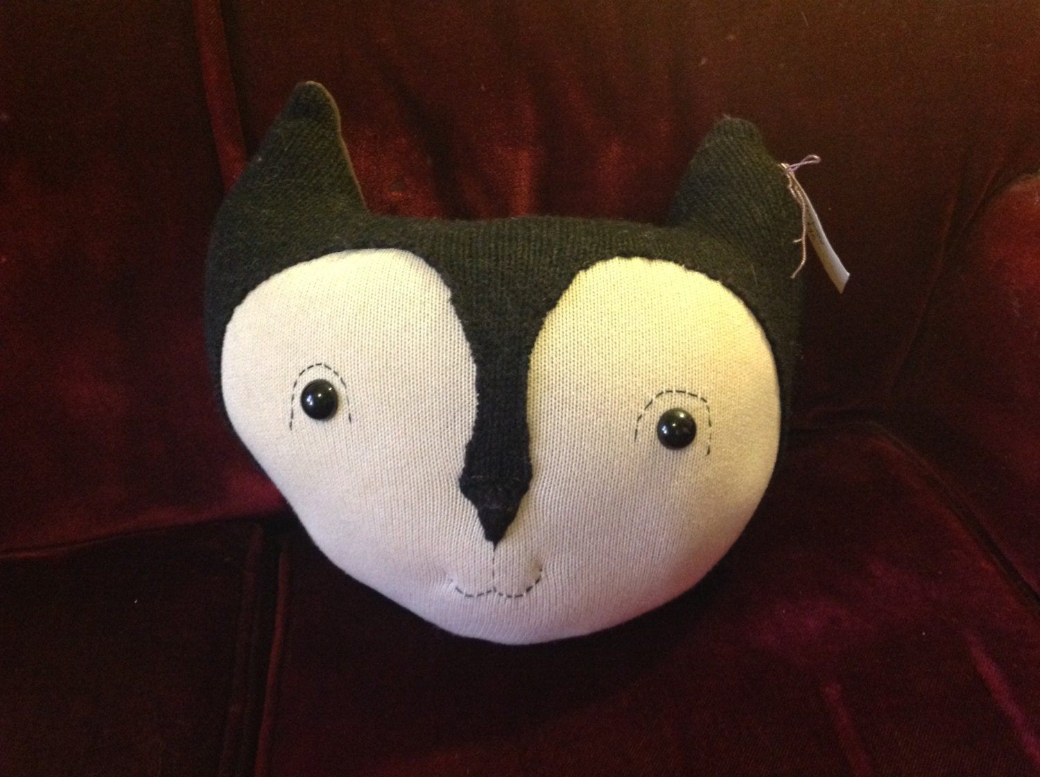 Fox head pillow made from sweaters by tigerflight on Etsy