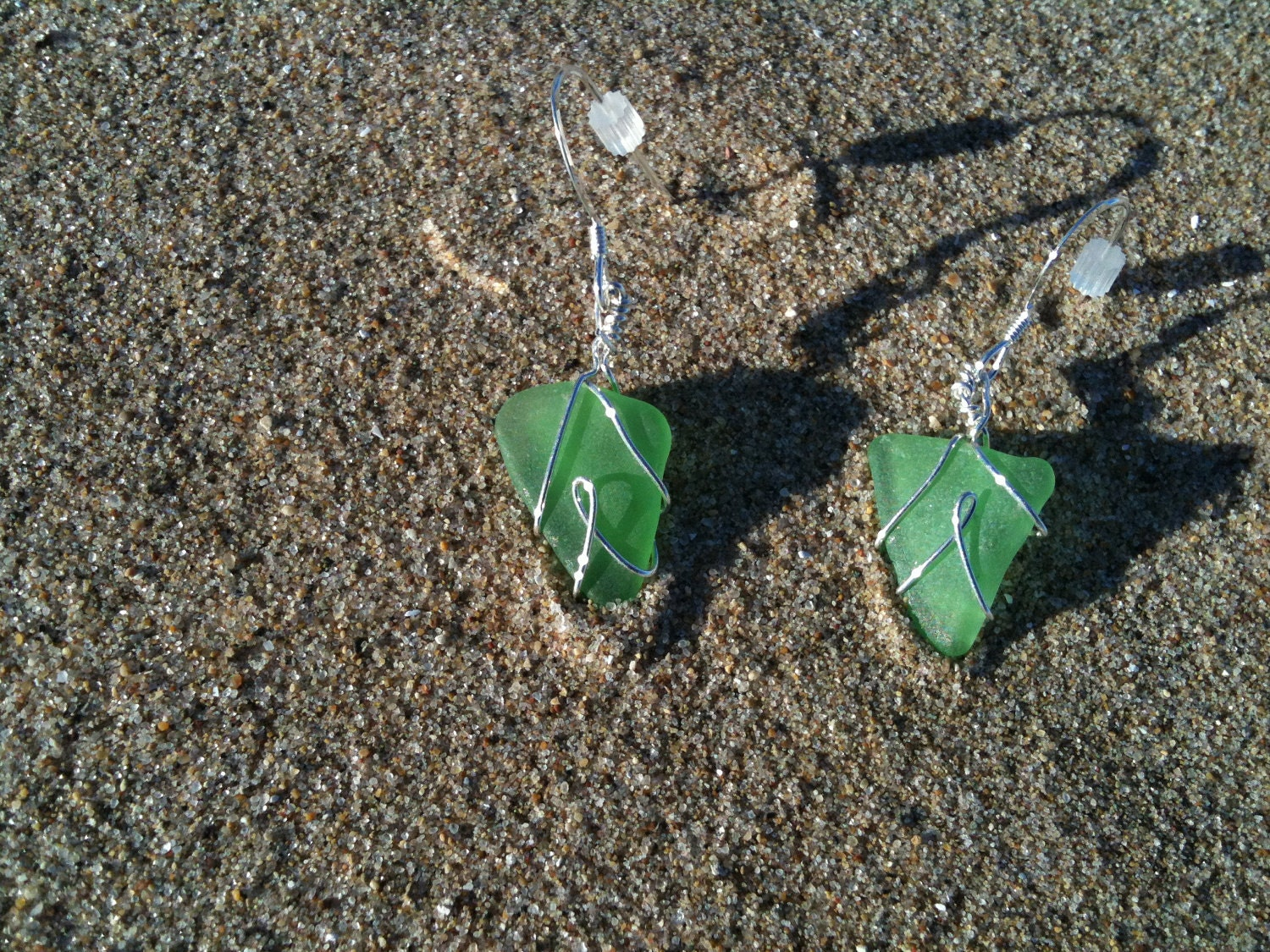 green beach glass dangle silver ribbon earrings