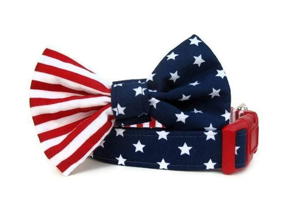 Uncle Sam Dog Collar and Bow Tie Set - BigpawCollars
