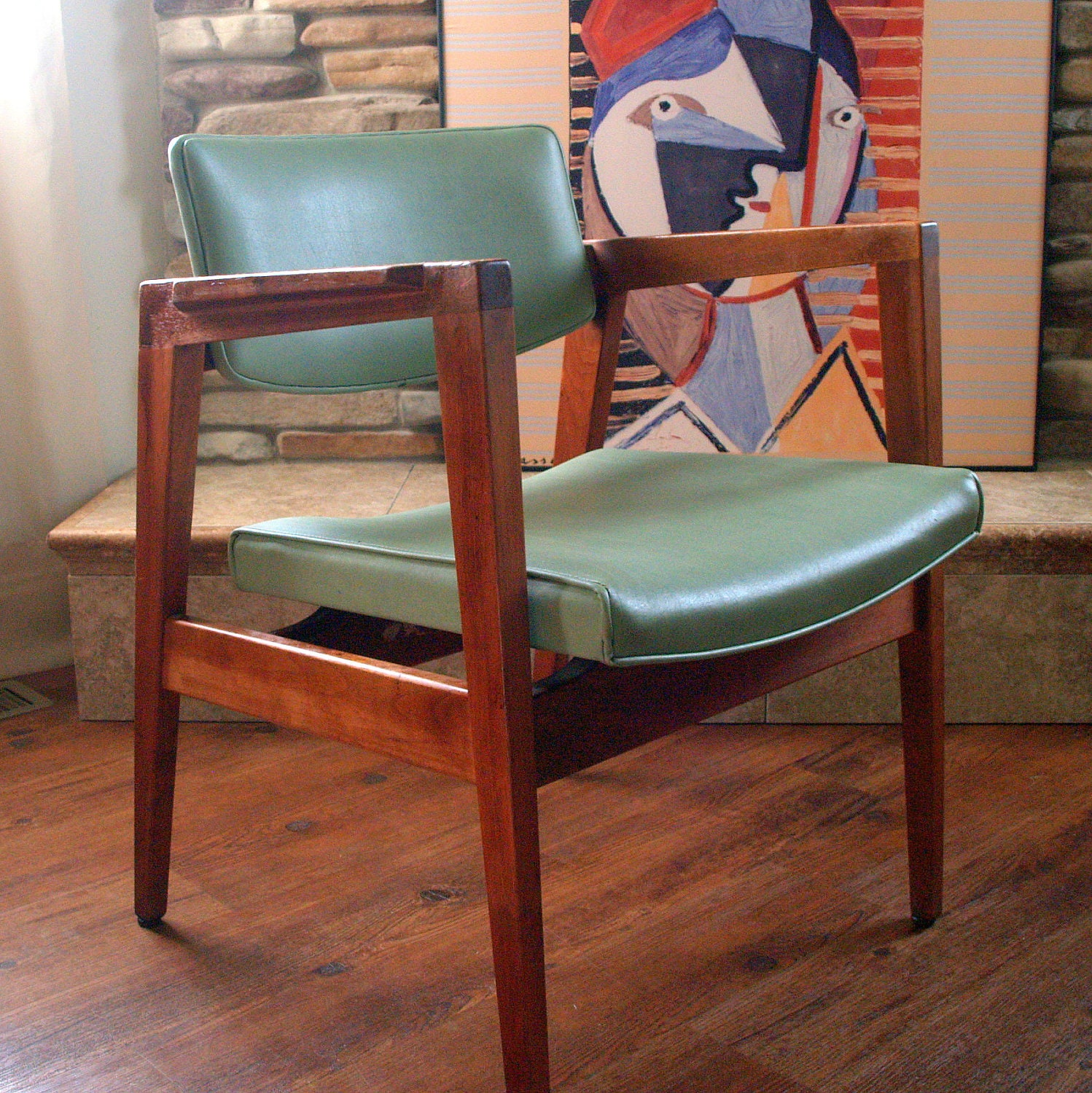Gunlocke walnut pair of lounge arm chairs walnut wood mid for Mid century modern wood furniture