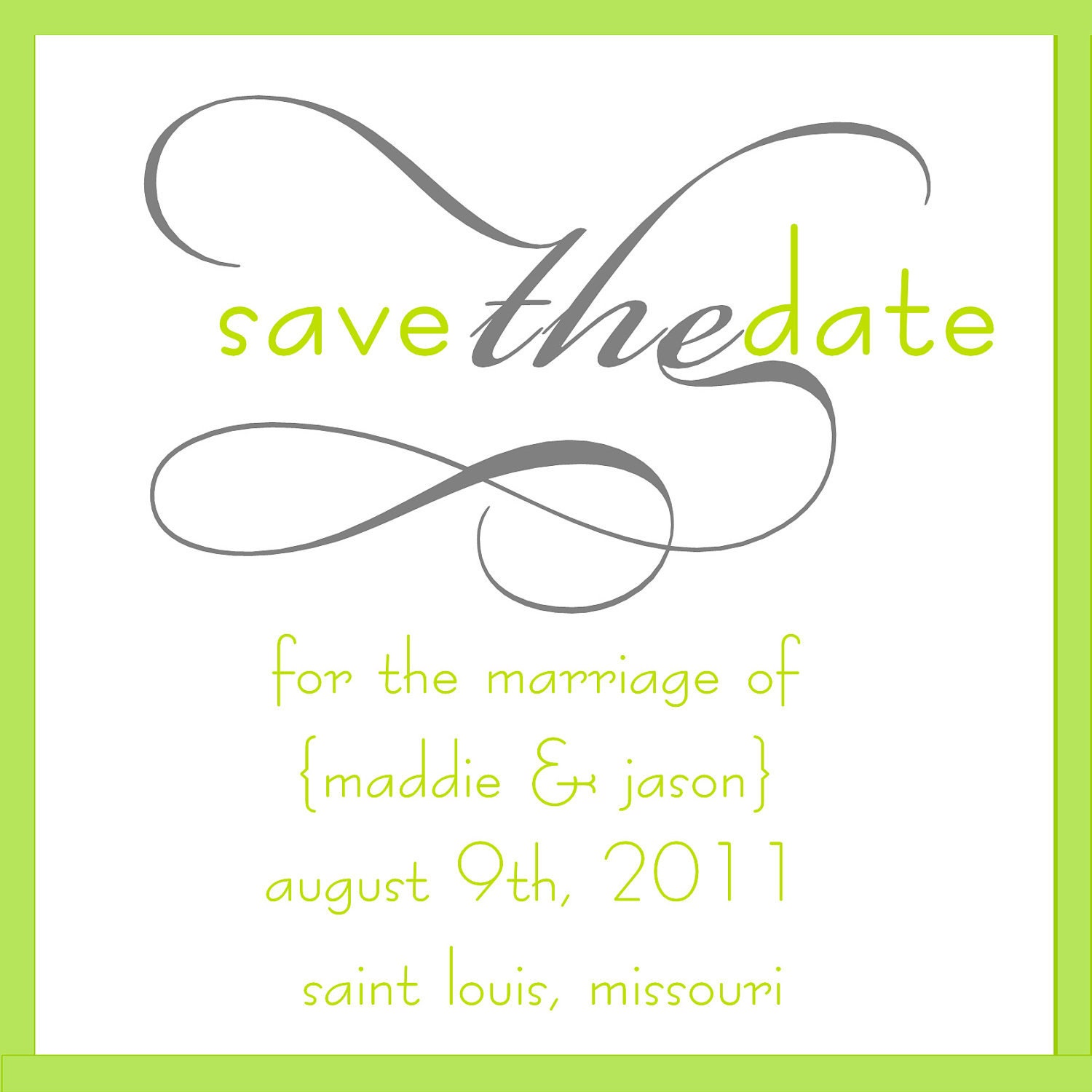 Modern Square Gray and Green Save the Date
