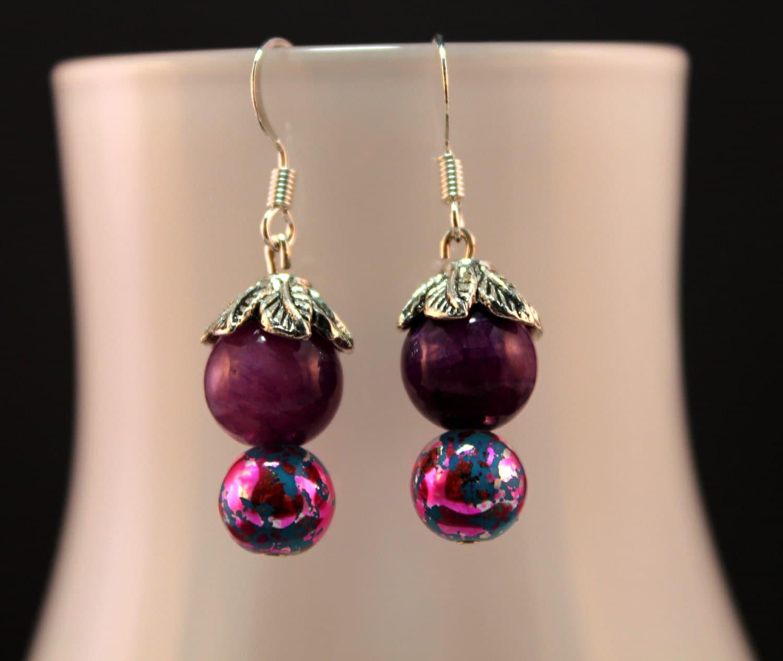 Amethyst & Glass Bead Earring
