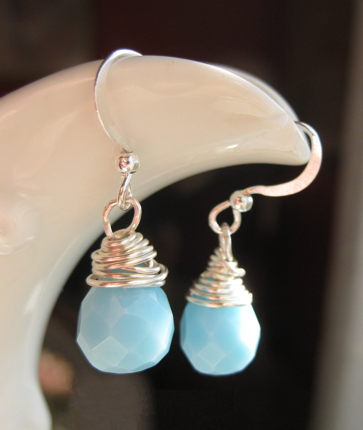 Drops of Rain - Sweet and Simple Wire Wrapped Blue Faceted Briolettes - TheFirstKiss