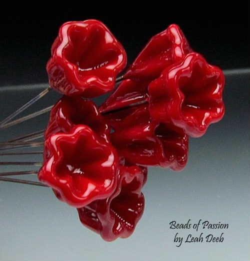 Handmade Glass Headpins Bead Artisan Lampwork - 10 Rich Red Bellflowers - BeadsofPassion
