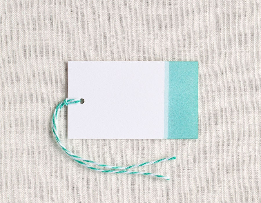 Watercolor Gift Tags / Dip-Dyed Paper Gift Tags in Teal / Party Favor Thank You Tags / Wedding Favor Tags