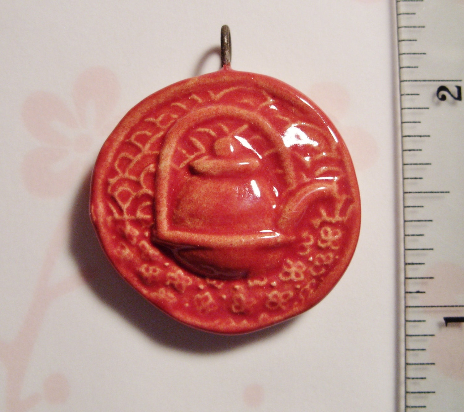 original ceramic teapot pendant in red glaze - stoneblossomstudio