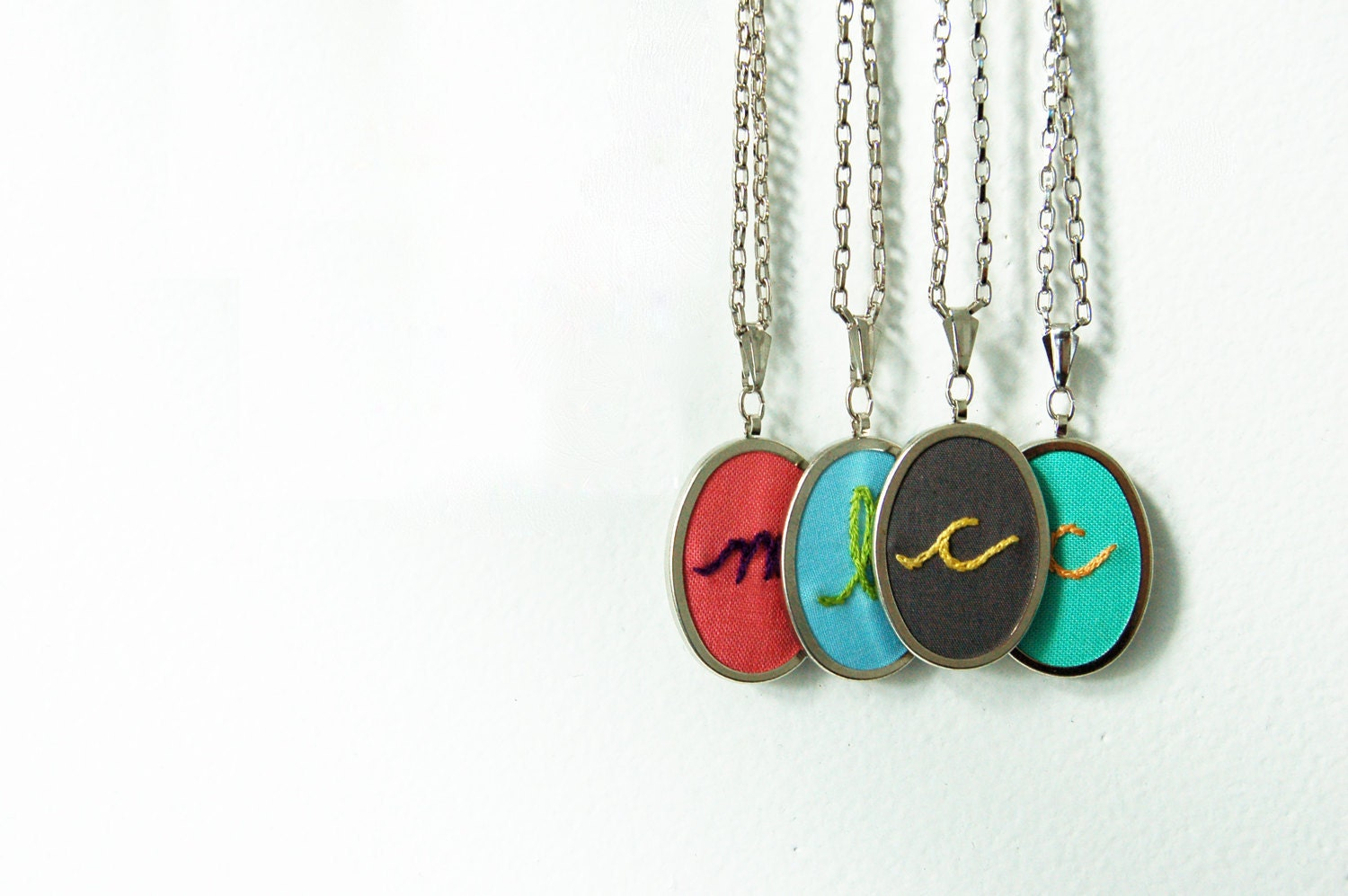 Embroidered Initial Necklace. Custom Letter,  Personalized Necklace.  Made Just For You by merriweathercouncil on Etsy.