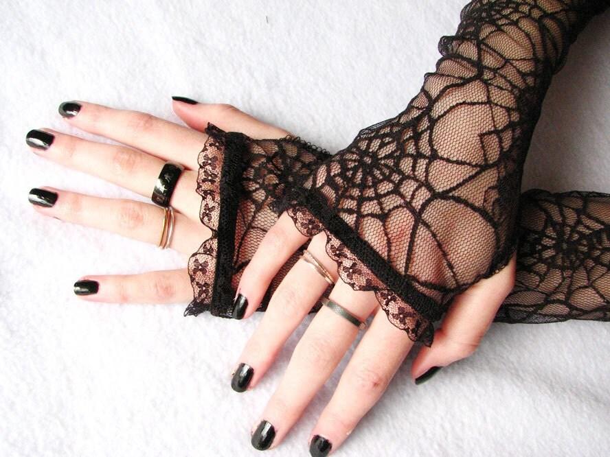 Halloween Lace Gloves: Spider Webs, Black Widow, Spider queen, Gothic,  wedding, Fingerless lace gloves, long gloves, Steampunk Noir - SeamstressbytheSea