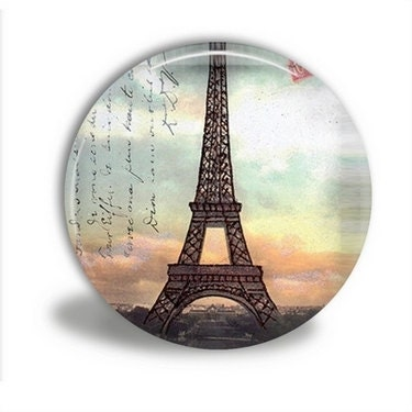 Pocket Mirror with Velour Bag - EIFFEL TOWER SUNSET
