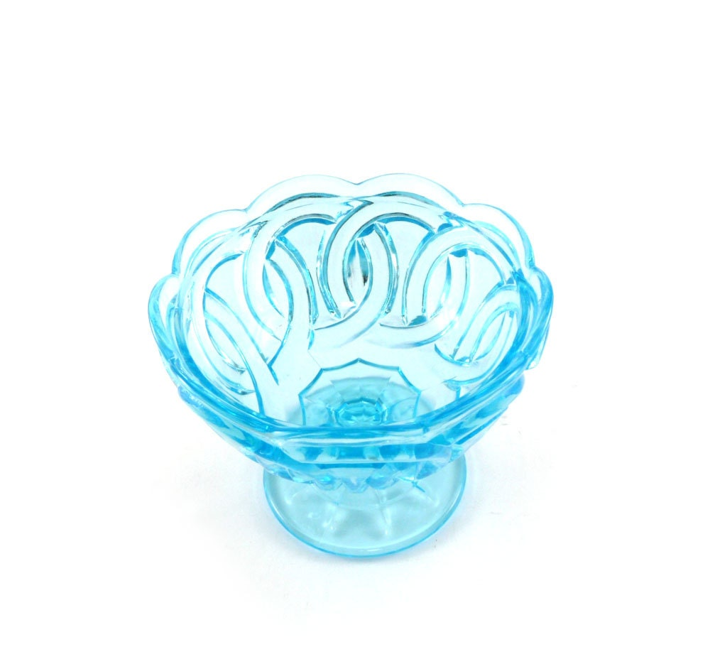 Vintage glass dish - aqua, teal, turquoise geometric bowl - reconstitutions