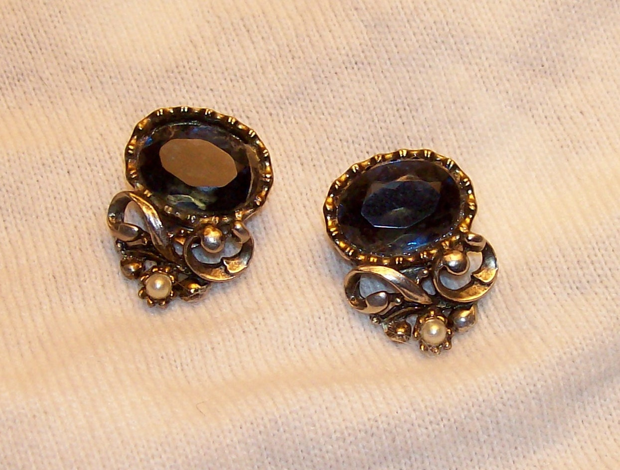 SALE  big, bold, beautiful baroque navy blue earrings