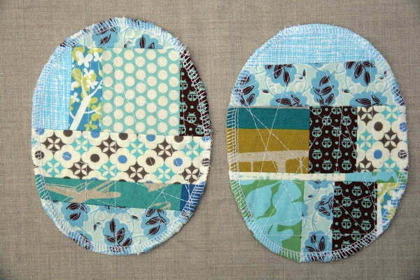 Patchwork Knee Patches - set of 2 turquoise blue