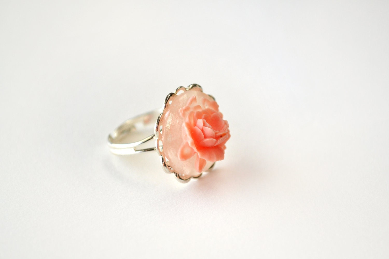 01 The Nora: coral rose cabochon ring on silver filigree adjustable band