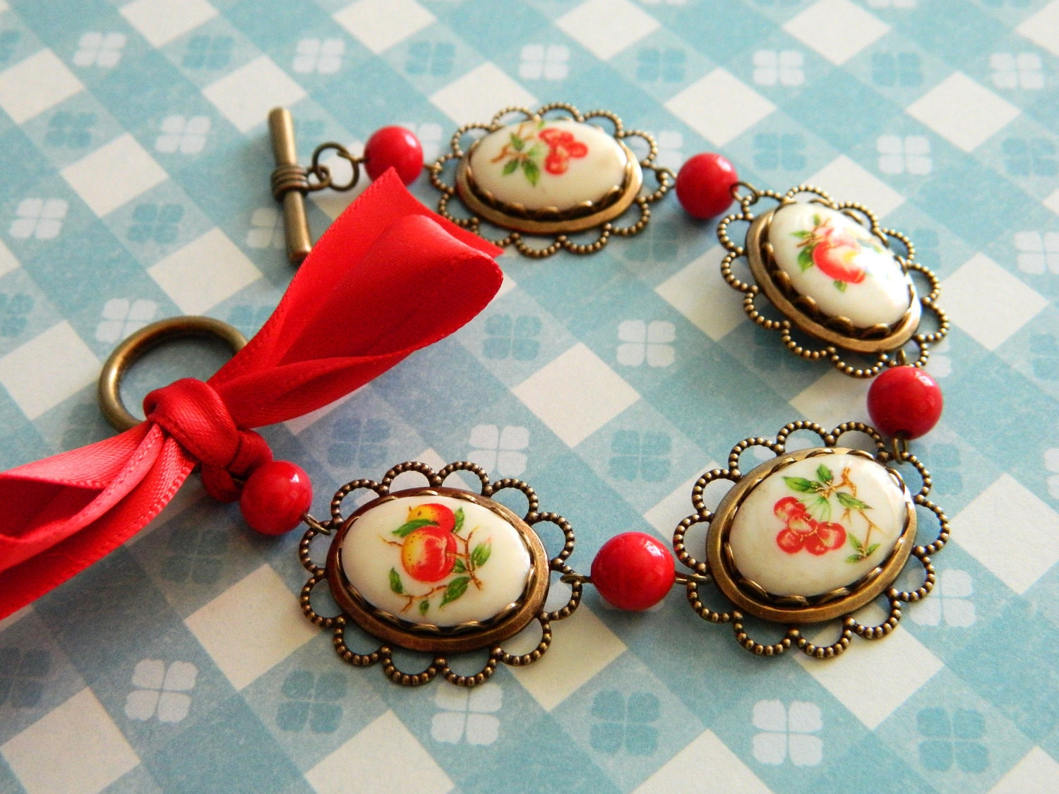 Bracelet Vintage Retro Cherry Peach Apple Red Ribbon & Lace Border - Betty's Fruit Basket