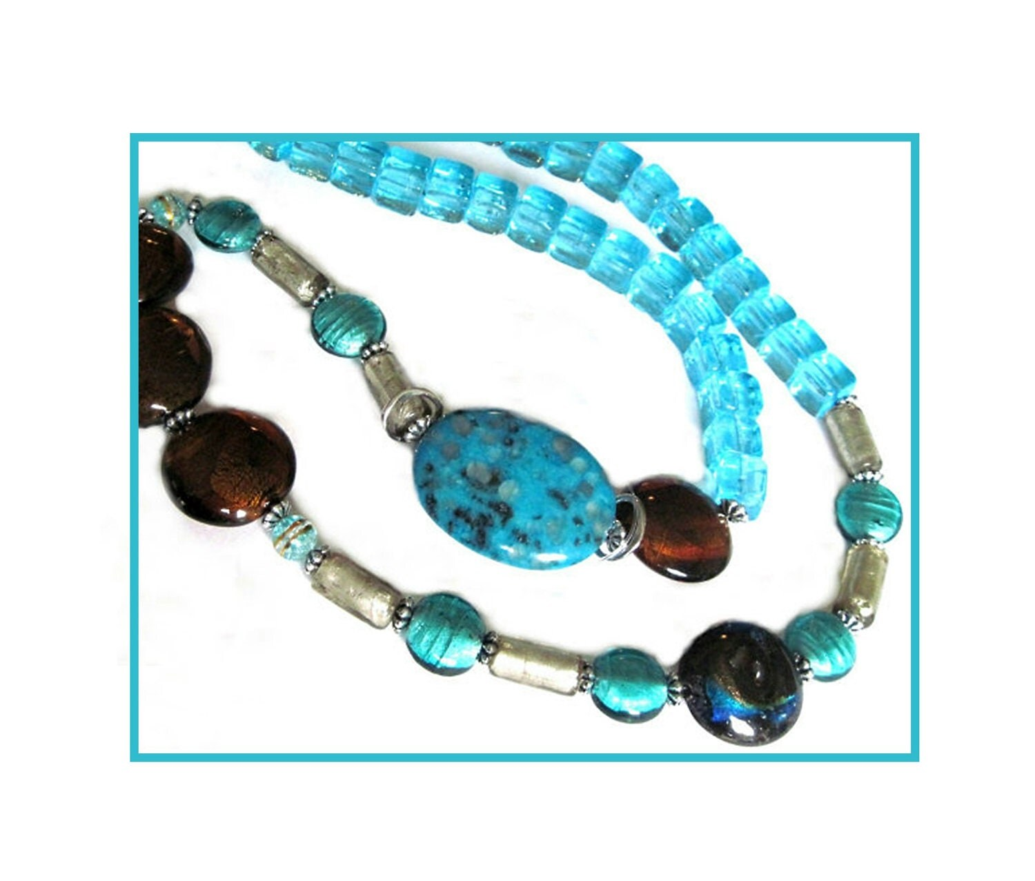 Aqua Blue Venetian Style Statement Necklace,  LAMPWORK Aqua Blues, Amber Browns,  Avante Garde, Blue, Bold and Beautiful