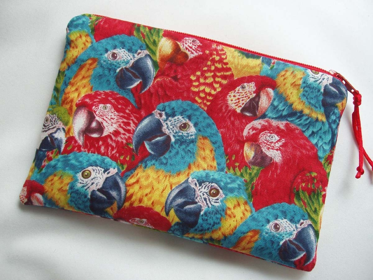 Macaw Head Zipper Pouch with Red Lining by BagsOfaFeather on Etsy
