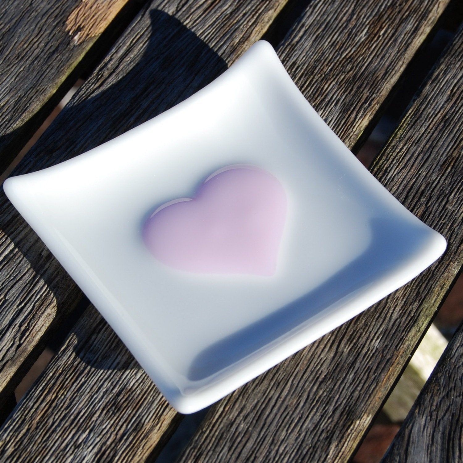 Pink Heart - Fused Glass Trinket Dish - Spoon Rest