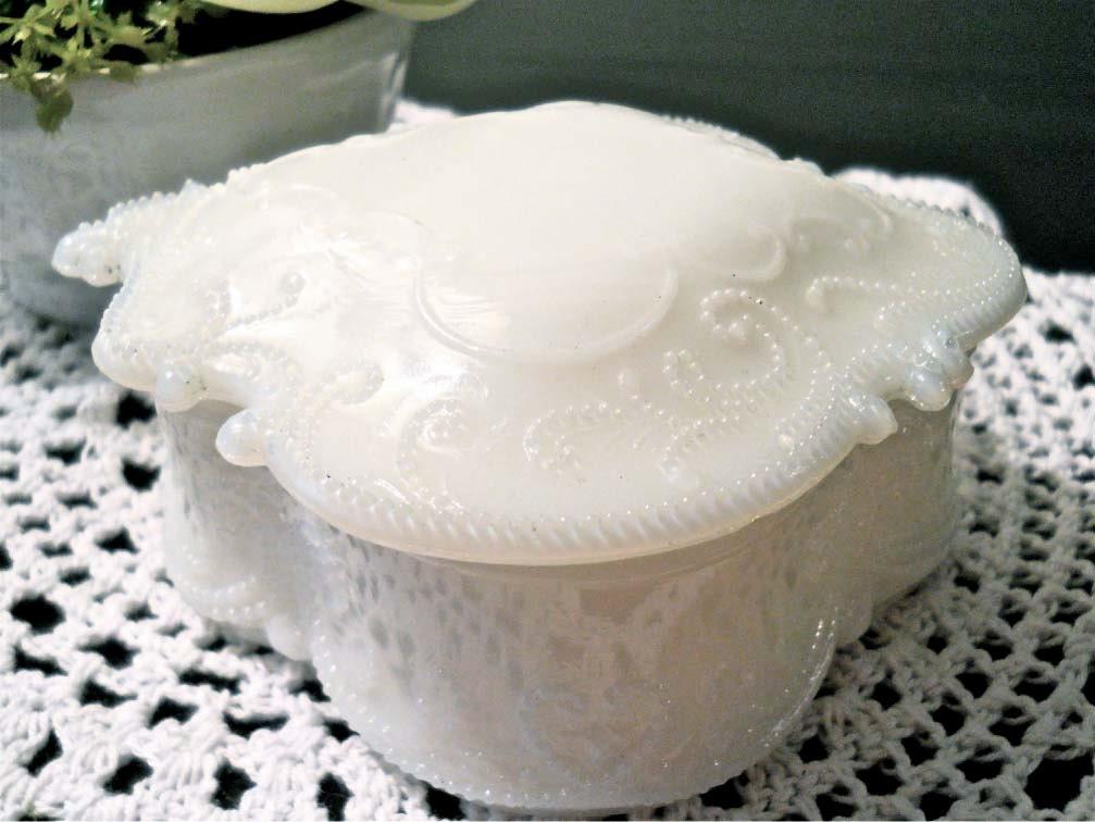 Shabby Chic Vintage White Milk Glass Jewelry Box