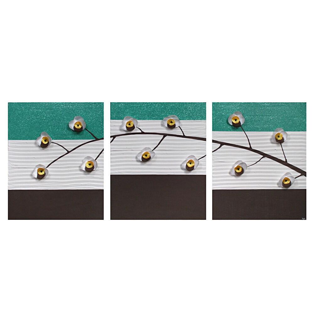 Джейд Орхидея Живопись - БОЛЬШОЙ Текстурированные холст, акрил Триптих - 50x20 современного искусства стены