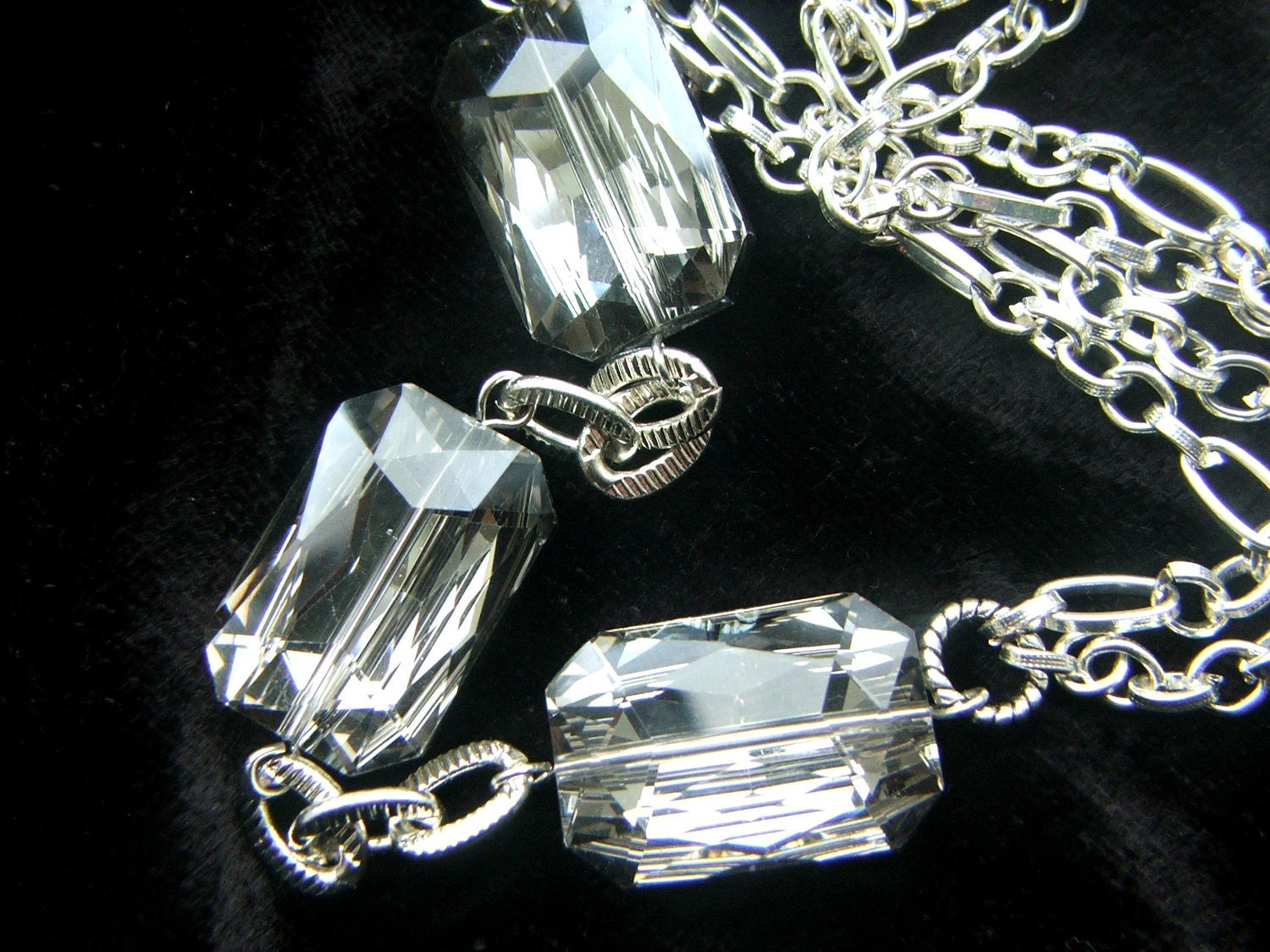 Holiday Jewelry  Large Smoky Gray Crystal Necklace Silver Chain