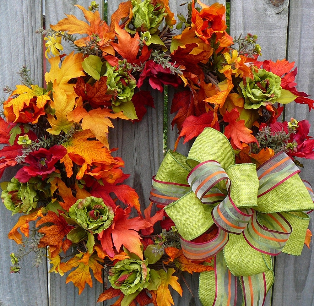 Fall Wreath - Unique Fall Wreath with Fresh Green Accents -  Fall Leaves -  Beautiful Plaid Bow - HornsHandmade