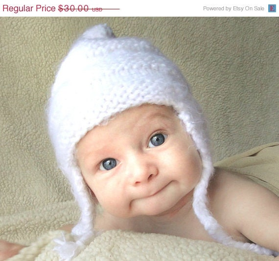 SOLSTICE SALE Christmas Holiday Snow Angel knitted baby hat children clothing size 2 years and up white winter hat baby photo prop Ready t - BoondocksBabies