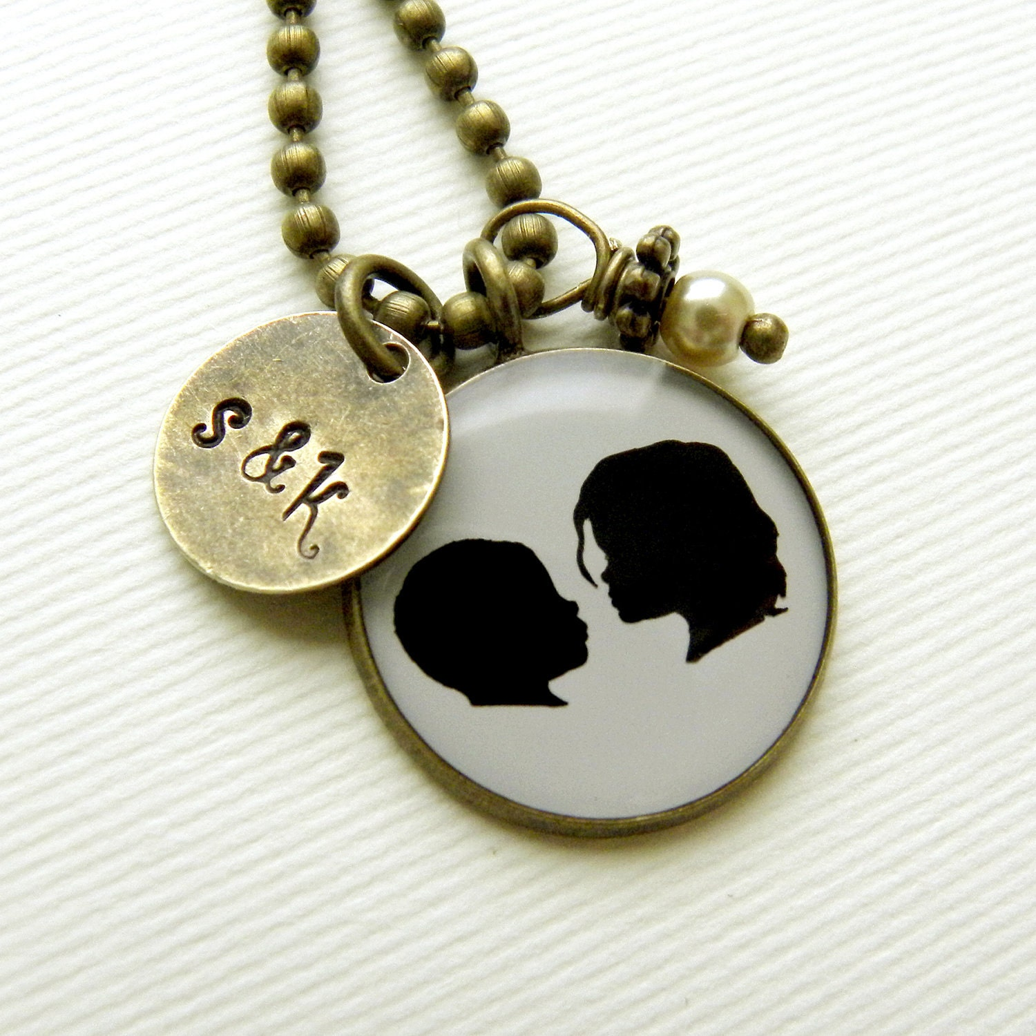 Silhouette Necklace with 2 custom silhouettes in Brass with Stamped Initial tag & Pearl Dangle