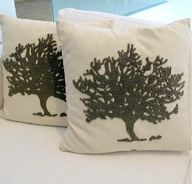 Housewares Tree Pillow NaturePillow cover Cushion cover Linen pillow cover Home Decor Throw pillow  Decorative pillow