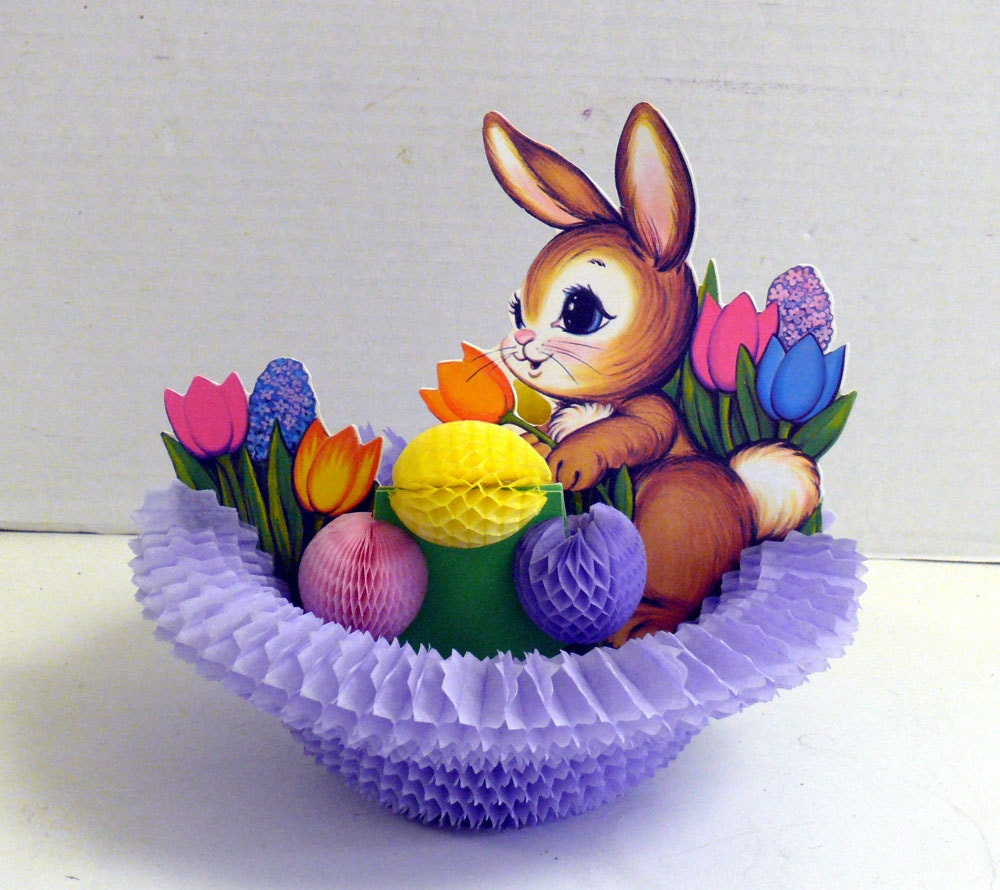 Easter Honeycomb Paper Foldout - Bunny and Easter Eggs - PURPLE basket - allunique