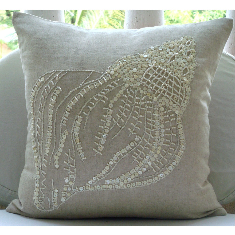 Sea Shell - Бросьте наволочки - 18х18 дюймов белье Чехол с вышивкой Перл