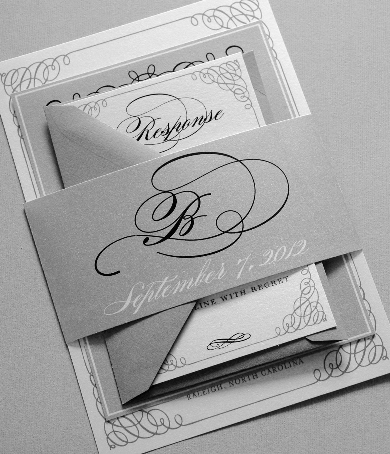 Black and White Wedding Invitations - Black and Gray Wedding Invitations, Belly Band, Black, Gray, White, Silver