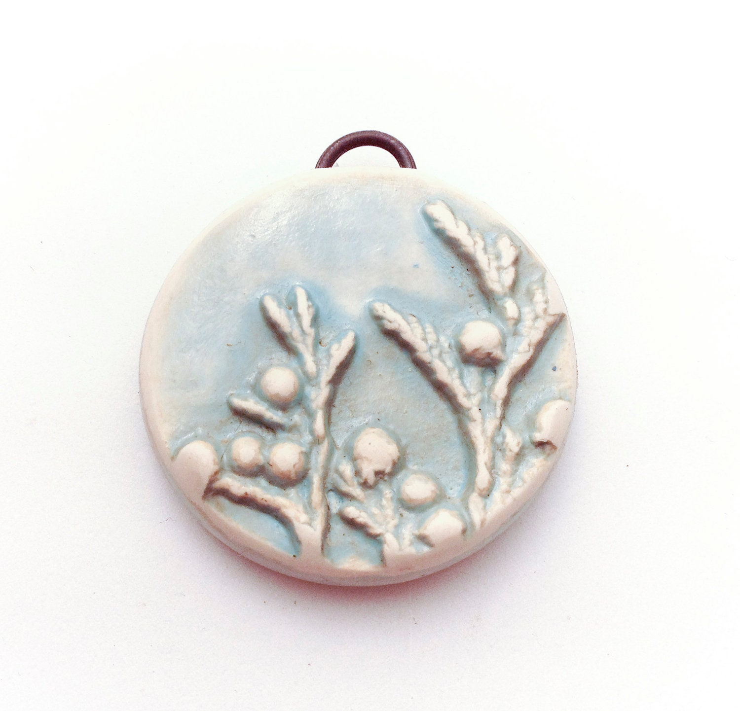 Cedar Branch Antique Blue Polymer Clay Pendant Necklace - Distlefunk2