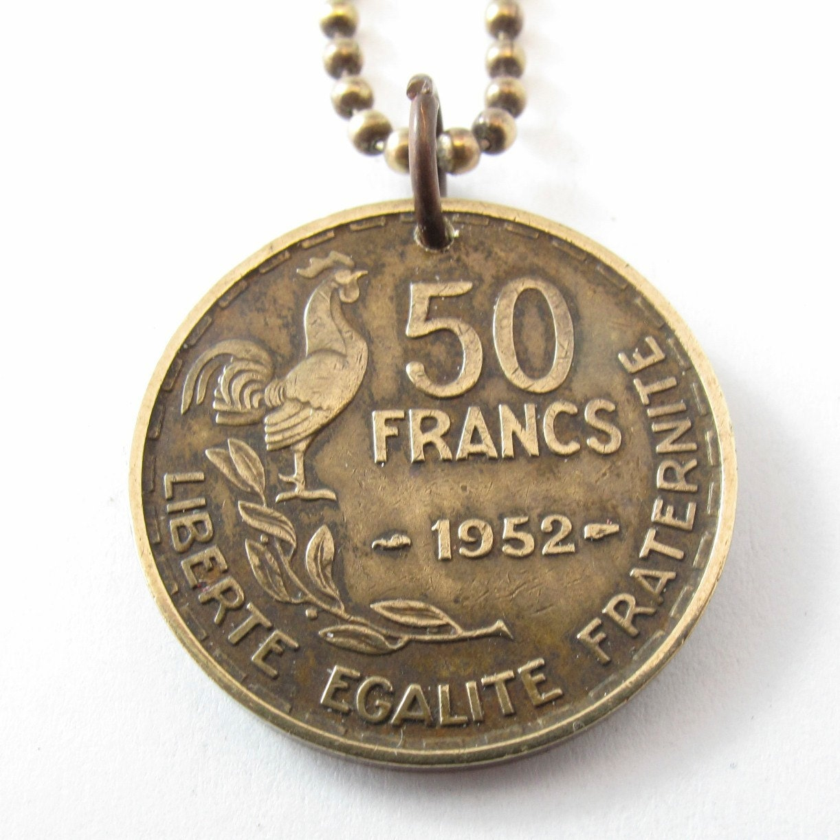 FRANCE french COIN NECKLACE 50 Franc Liberate Egalite Fraternite rooster pendant. brass chain .choose year . 951 1952 1953 No.00903 - PartsForYou