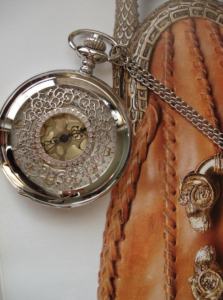 20% HOLIDAY SALE Silver Color Necklace Pendant Silver Pocket Watch quartz Gift Chain  E242