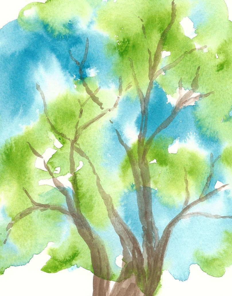 Tree Art Blue Green Tree Personalized  print - SageTrees