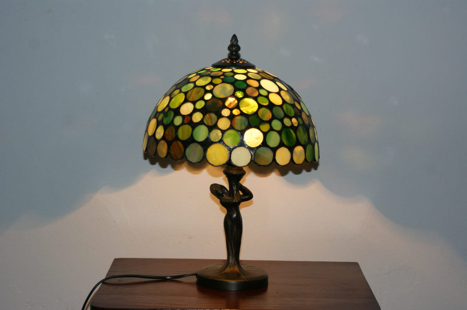 Green Stained Glass Lamp Mosaic Tiffany Lamp - Anazie