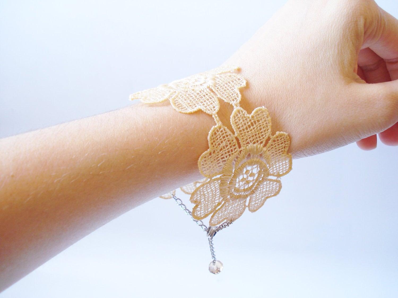 Lace Bracelet, Women Accessories, Champagne, Light Brown, Bridesmaids Accessories - bytugce