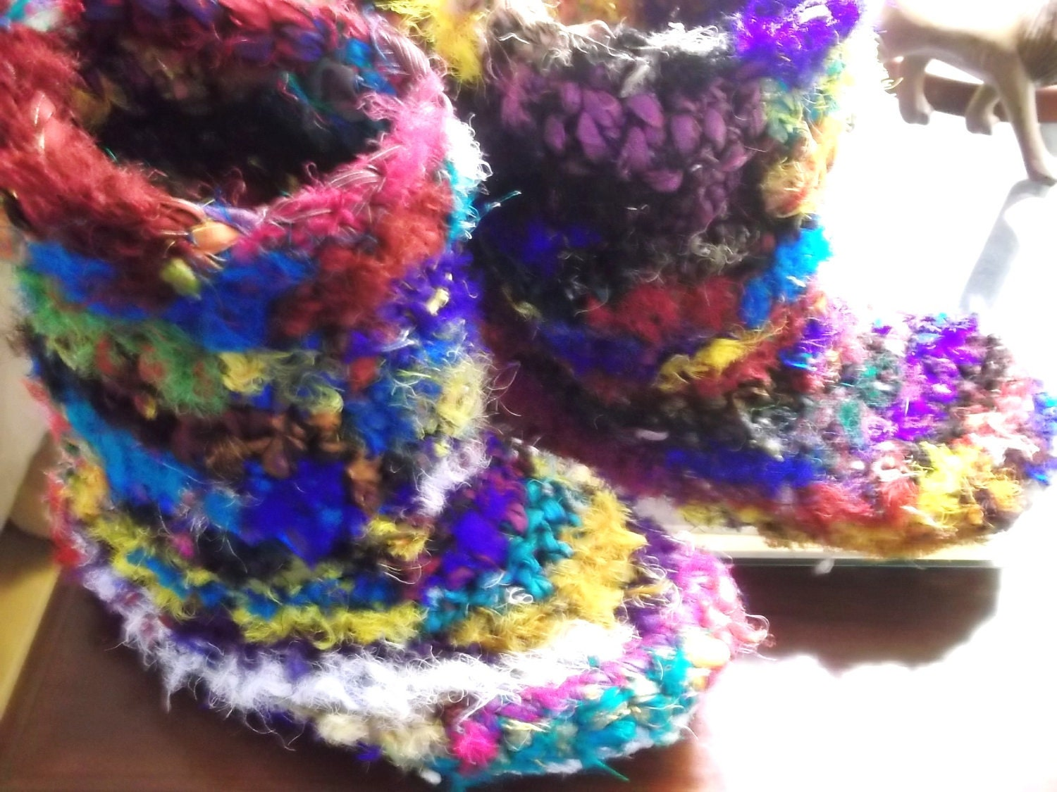 Hand Crocheted Funky Slippers/Houseboots -  Sari Ribbon yarn - crochet slipper boots.  ugg style :) - allthingzenergy
