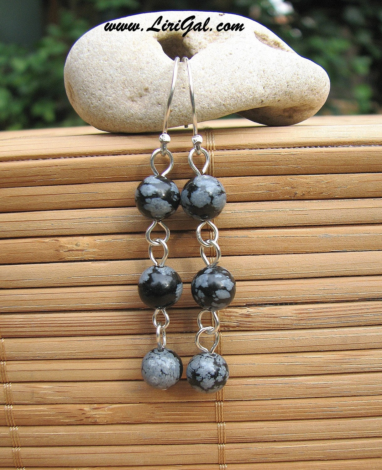 Snowflake Obsidian Sterling Silver Earrings.