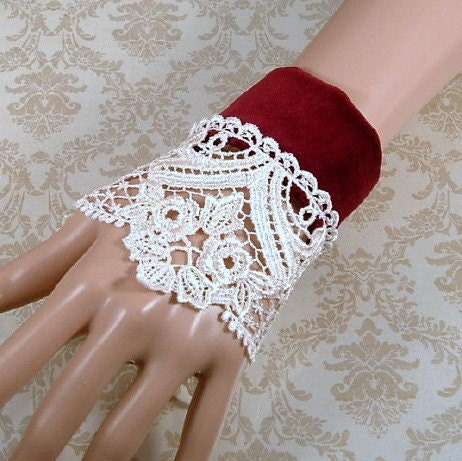 Romantic Victorian Lolita Cuff Red Velveteen with Cream Venice Lace, Pair