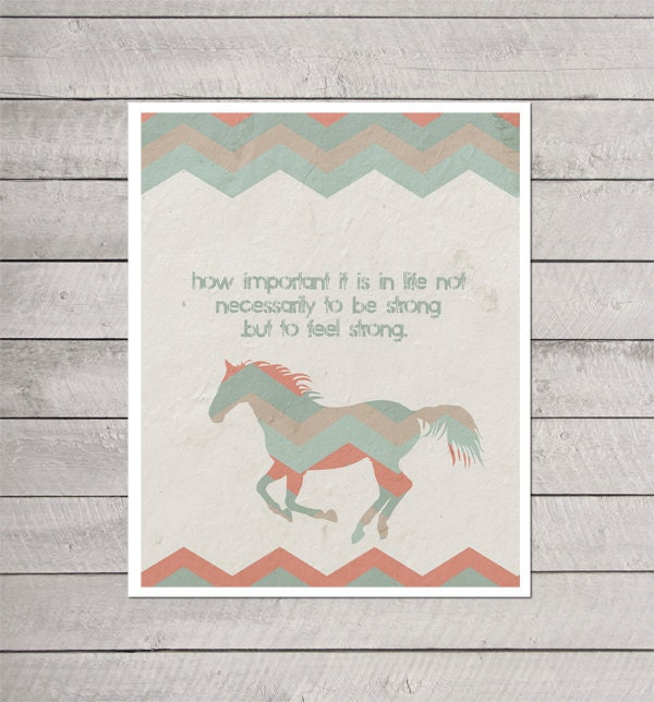 Digital Art Print Feel Strong - Southwest Inspired Modern Art Print quote - Chevron Tribal Coral Mint Blue - hairbrainedschemes