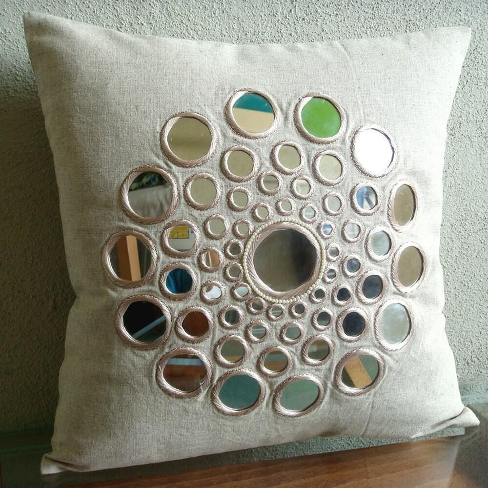 Circle Of Life - Бросьте наволочки - 16х16 дюймов хлопок белье Чехол с зеркалом Вышивка