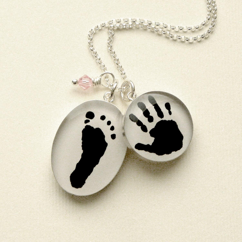 Sterling Custom Baby Handprint & Footprint Necklace with Swarovski Birthstone Dangle