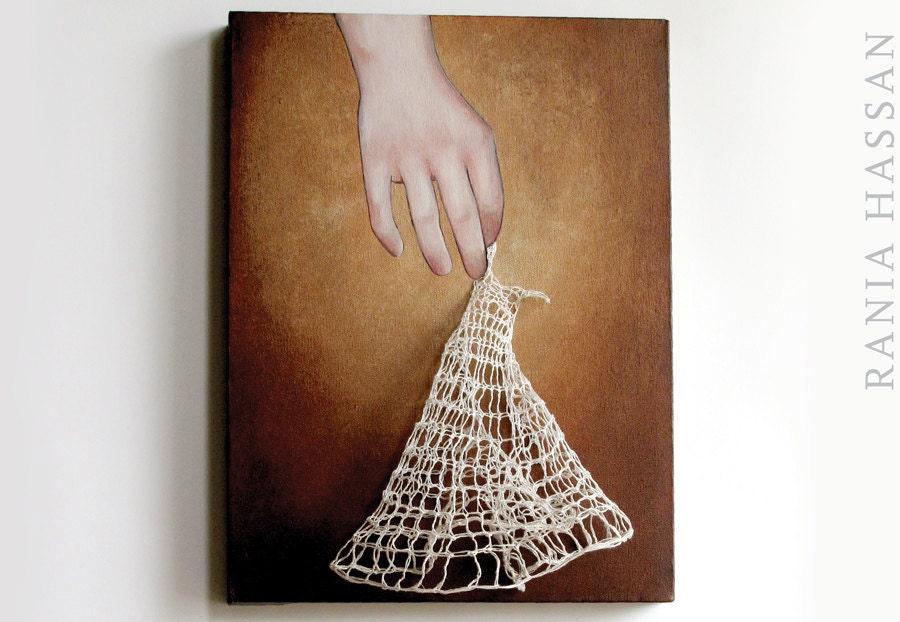 Knit Dress: Dancing (Fancy) 3. Mixed Media Fiber Art . Original Painting . 2012 . Rania Hassan - shoofly
