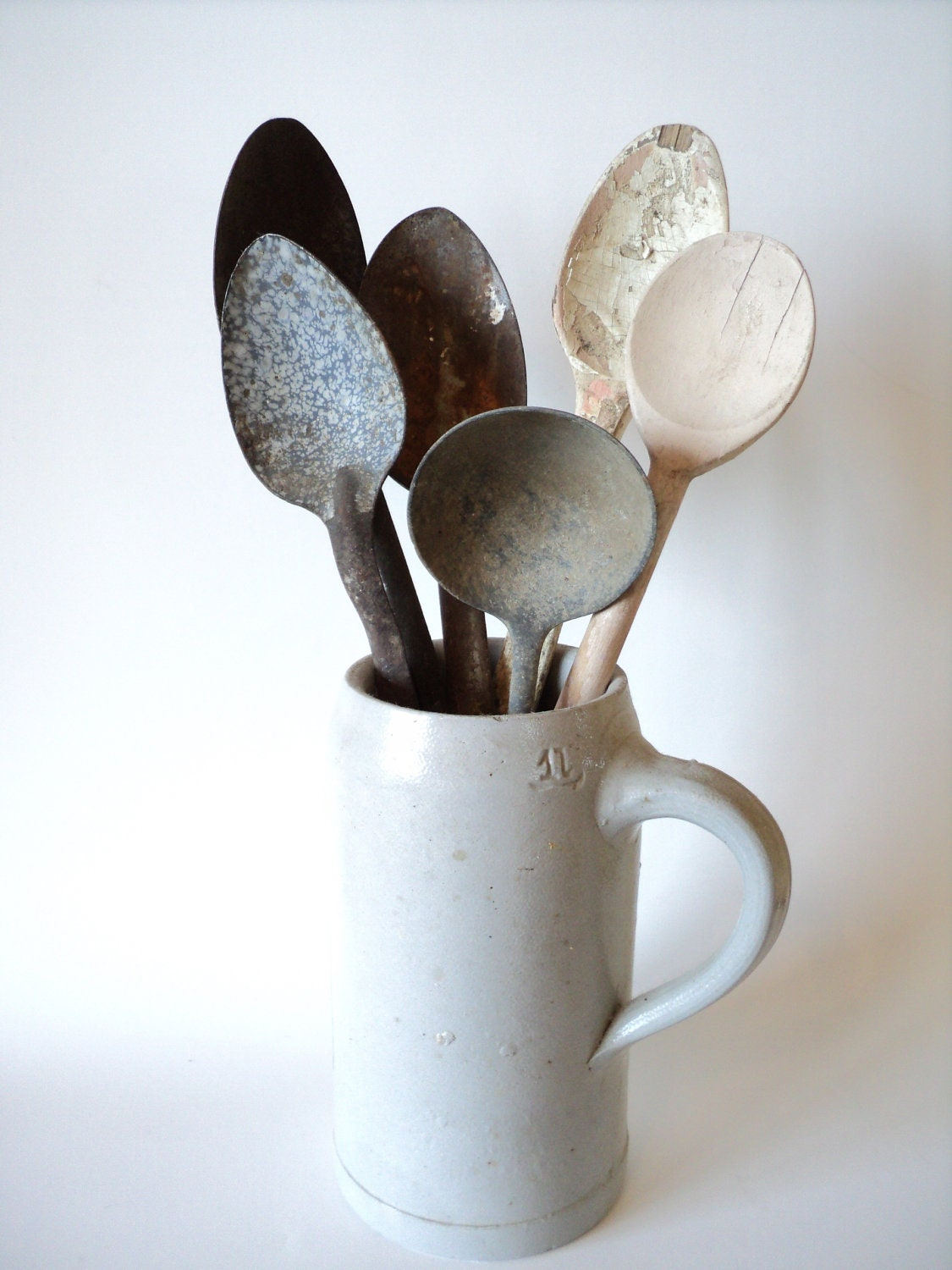 Six Large Serving Spoons Wood & Metal 1960's - littlecleoathome