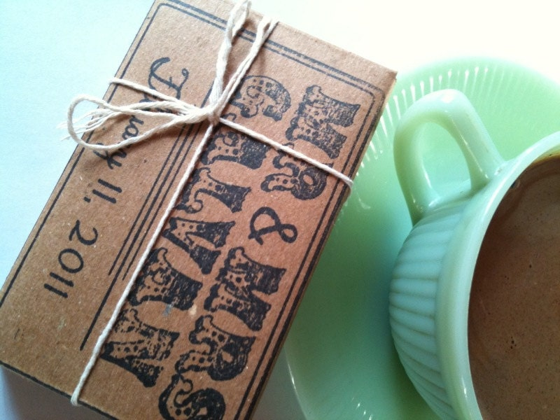 NEW Box 'O Cocoa- Hot Chocolate for TWO Wedding Favors, Party Favors, Bridal Showers Set of 10 3oz packs w/ CUSTOM Stamp by Apropos Roasters