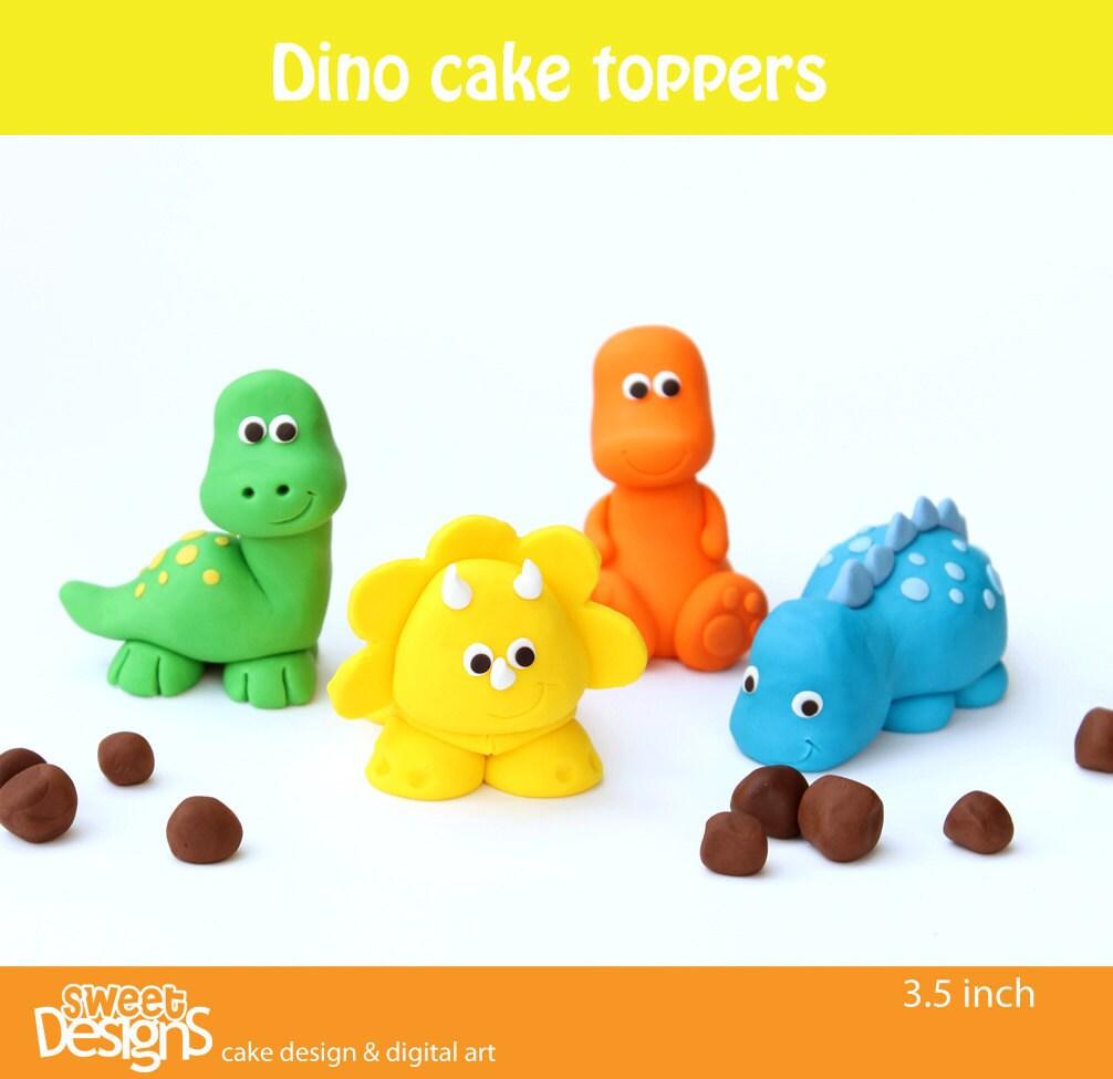 3d 4 Dinosaur Fondant Toppers - mjtabush