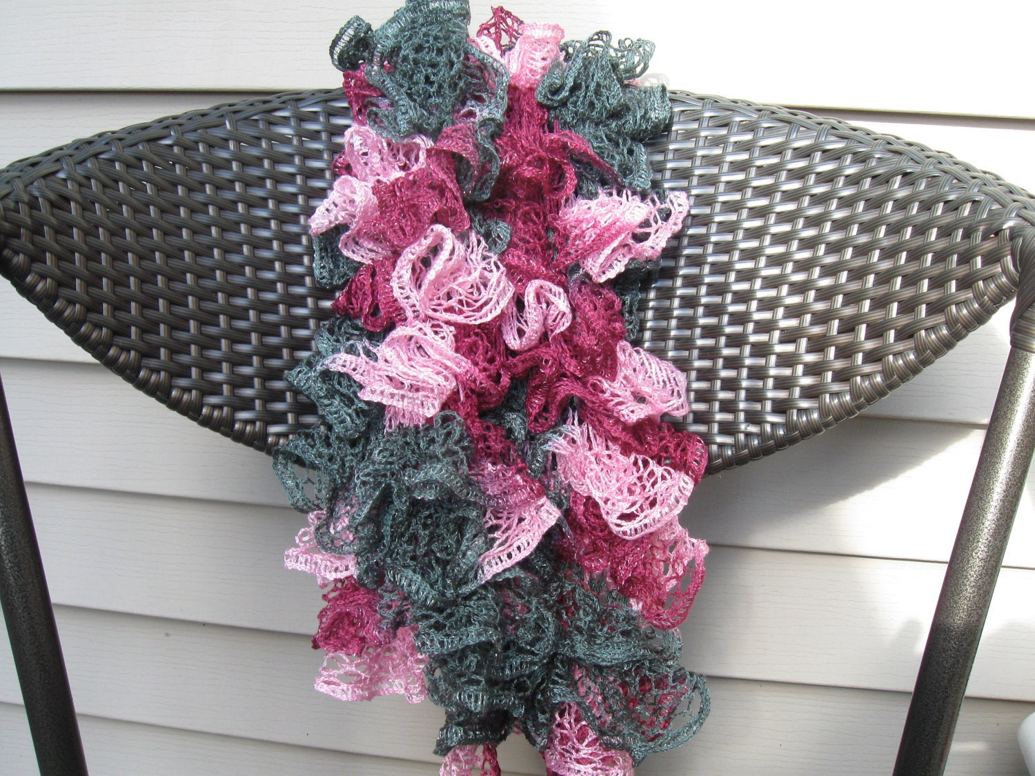 Ruffled Shades of Grey and Pink Yarn Hand Knitted Soft Acrylic Scarf 55 inches long