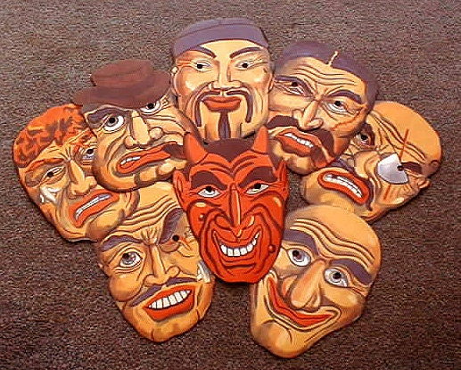 8 Original Vintage Halloween Devil and Thugs Crooks Criminals Paper Masks 1930s Japan