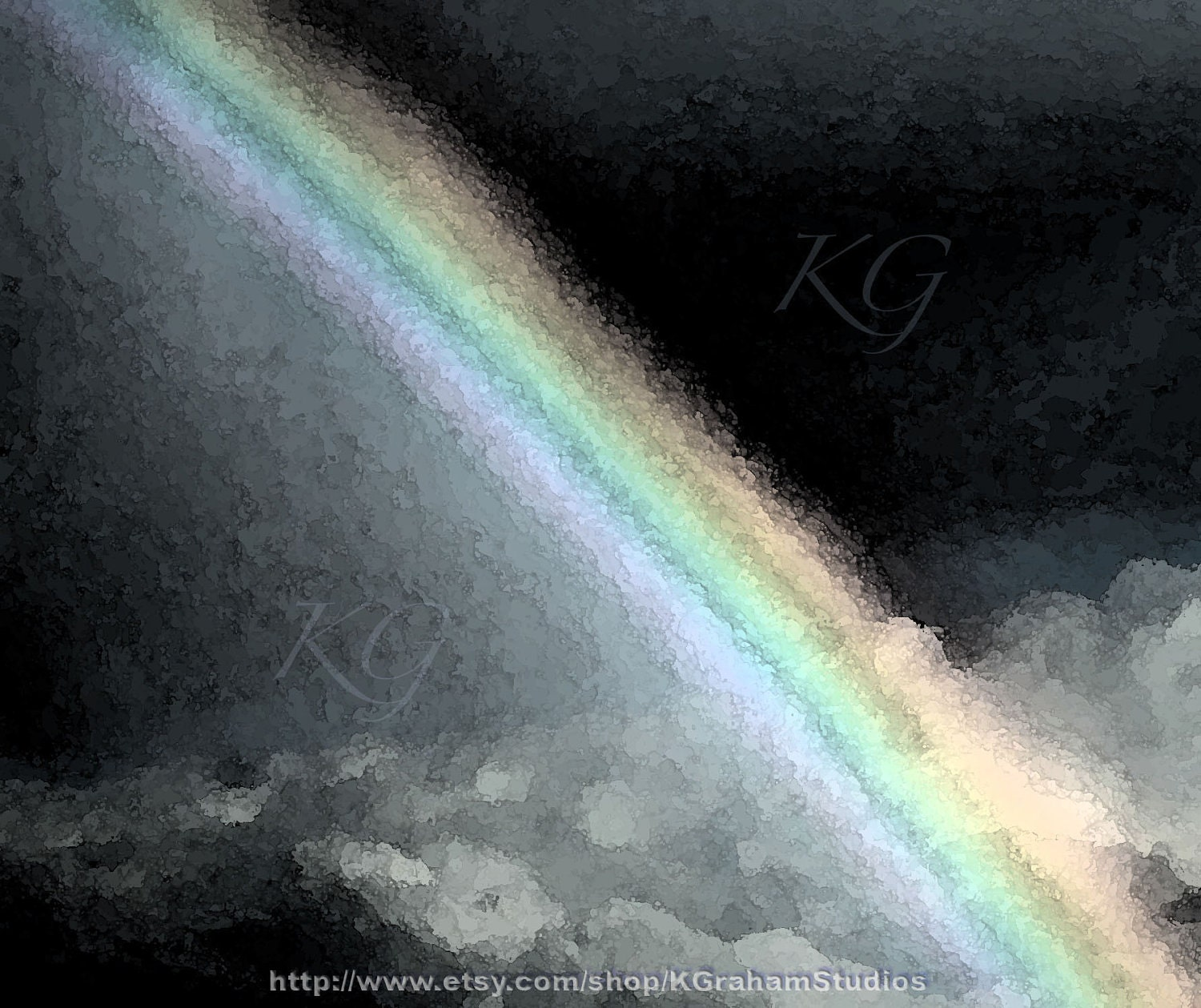 NIGHT RAINBOW  Altered Photo Art Print by K Graham Surreal Night Sky Clouds Pastel Rainbow Pink Green Yellow Blue Black - KGrahamStudios